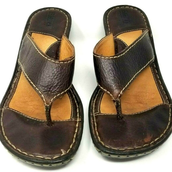 Born womens sandals size 7 M brown leather wedge